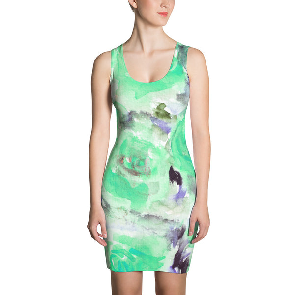 Turquoise Blue Rose Floral Sleeveless Premium Quality Women Dress - Made in USA/EU-Women's Sleeveless Dress-XS-Heidi Kimura Art LLC