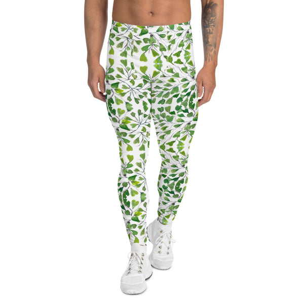 Green Fern Print Men's Leggings, Botanical Leaves Meggings Run Tights-Made in USA/EU-Heidikimurart Limited -XS-Heidi Kimura Art LLC Green Maidenhair Fern Leaf Men's Leggings, White Green Leaves Printed Men's Leggings Tights Pants - Made in USA/EU (US Size: XS-3XL) Sexy Meggings Men's Workout Gym Tights Leggings