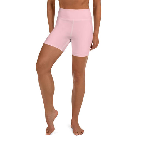 Ballet Pink Women's Yoga Shorts, Solid Color Dance Workout Short Pants- Made in USA/EU-Yoga Shorts-XS-Heidi Kimura Art LLC