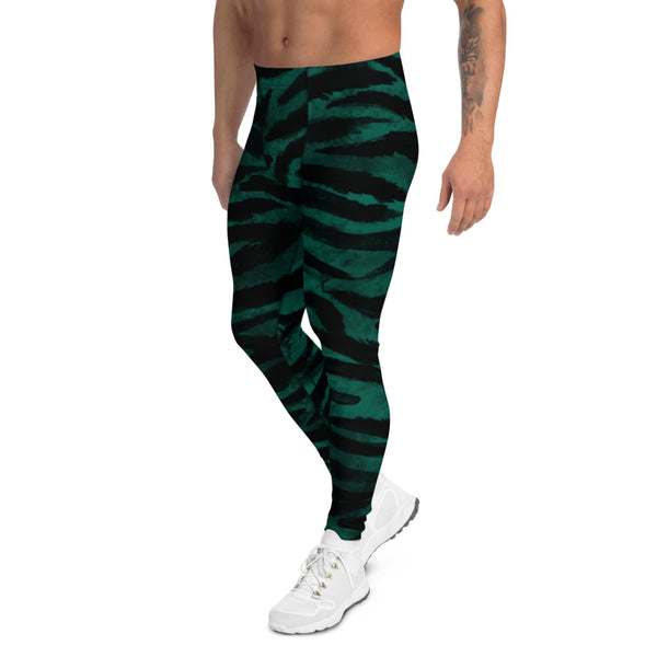 Green Tiger Stripes Men's Leggings-Heidikimurart Limited -Heidi Kimura Art LLC Green Black Tiger Striped Print Meggings, Sexy Animal Print Designer Men's Leggings Tights Pants - Made in USA/MX/EU (US Size: XS-3XL) Sexy Meggings Men's Workout Gym Tights Leggings, Compression Tights