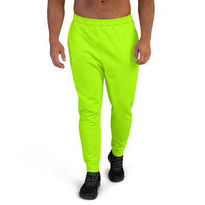 Neon Green Bright Solid Color Premium Men's Joggers Sweatpants - Made in EU-Men's Joggers-XS-Heidi Kimura Art LLC