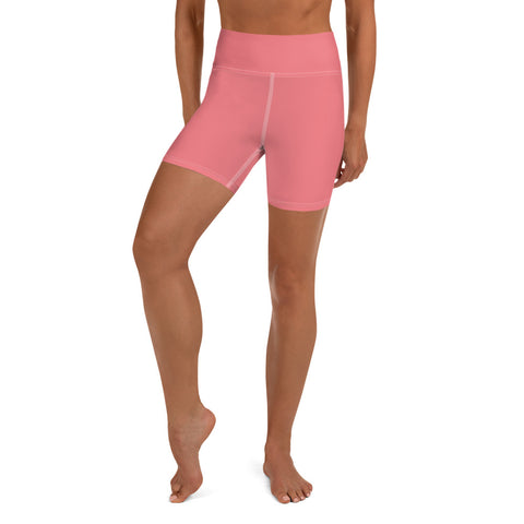 Yoga Shorts-Heidi Kimura Art LLC-XS-Heidi Kimura Art LLC Peach Pink Women's Yoga Shorts, Pink Solid Color Premium Quality Women's High Waist Spandex Fitness Workout Yoga Shorts, Yoga Tights, Fashion Gym Quick Drying Short Pants With Pockets - Made in USA/EU (US Size: XS-XL)