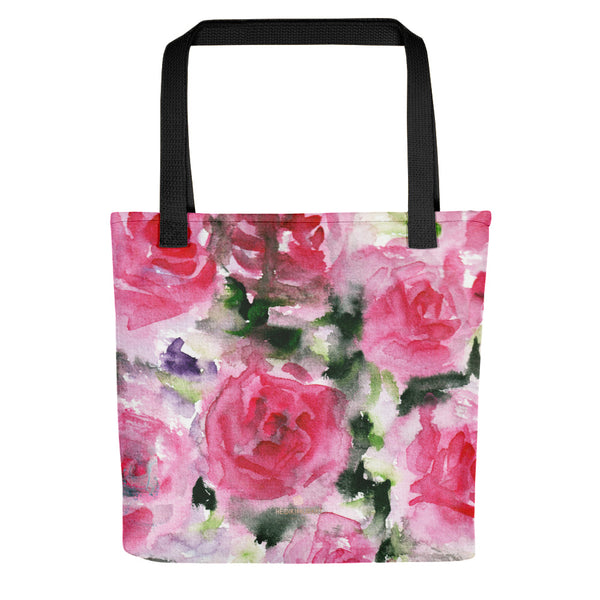 Etsudo Spring Girlie Pink Rose Floral Flower Designer AOP Tote Bag - Made in USA