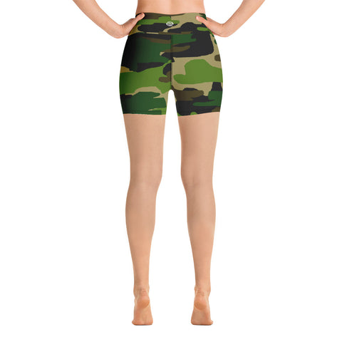 High Waist Military Army Green Camouflage Print Women's Yoga Shorts, Made in USA-Yoga Shorts-Heidi Kimura Art LLC