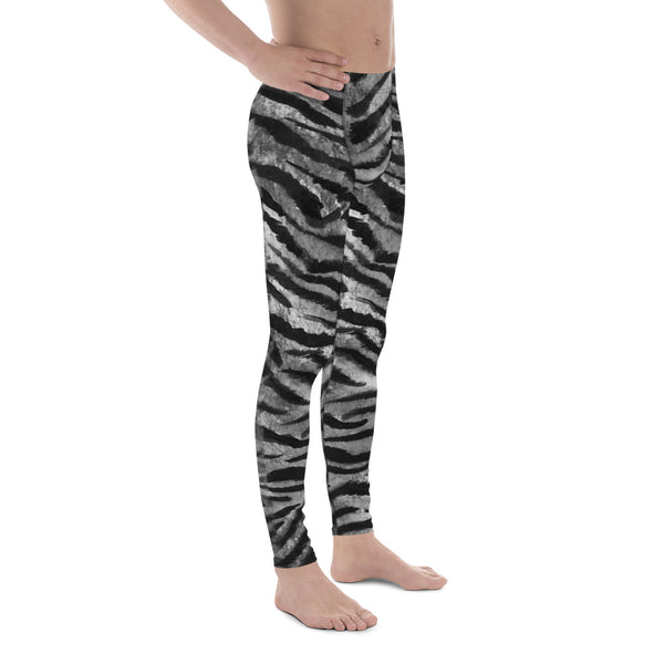 Gray Tiger Stripe Print Meggings, Animal Print Men's Leggings Run Tights- Made in USA/EU-Men's Leggings-Heidi Kimura Art LLC