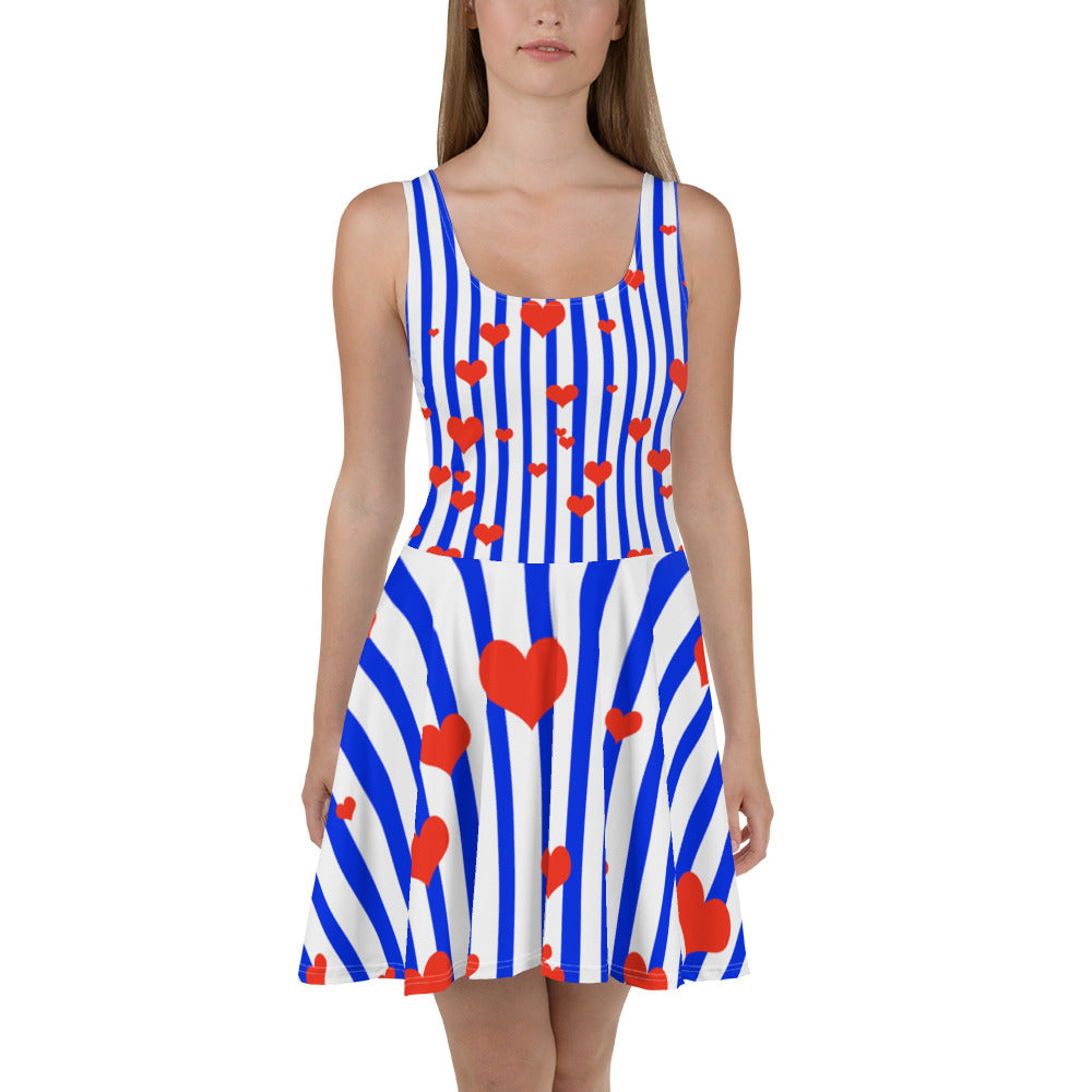 Blue + White Striped Women's Long Premium A-line Skater Dress Sizes XS-3XL - Made in Europe-Skater Dress-XS-Heidi Kimura Art LLC Blue Striped Women's Skater Dress, Blue + White Striped with Hearts Women's A-line Skater Dress Sizes XS-3XL - Made in Europe (US Size: XS-3XL)