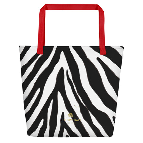 "Designer Black White Zebra Animal Pattern Print Large Tote 16""x20"" Beach Bag- Made in USA/EU-Beach Tote Bag-Red-Heidi Kimura Art LLC"