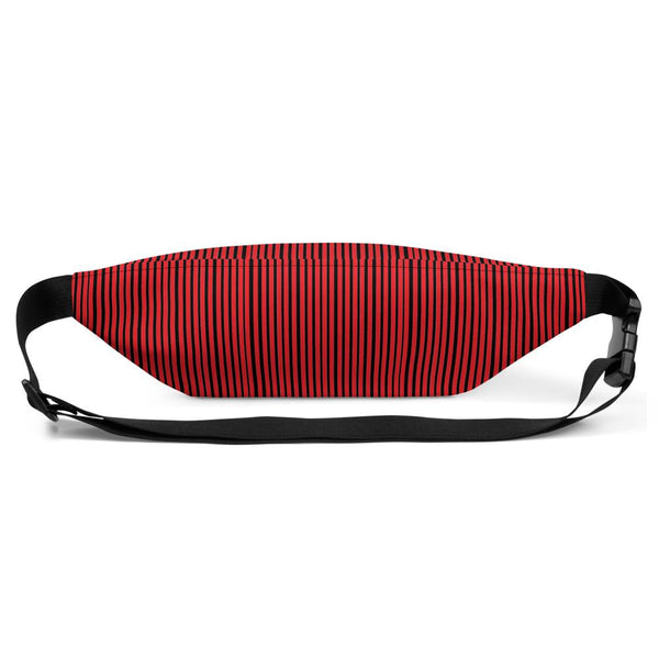 Red Black Stripe Print Designer Waist Bag Fanny Pack Festival Waist Belt Bag- Made in USA-Fanny Pack-Heidi Kimura Art LLC