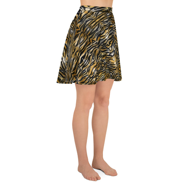 Brown Tiger Stripe Skater Skirt, Best Tiger Animal Print Print High-Waisted Mid-Thigh Women's Skater Skirt, Plus Size Available - Made in USA/EU (US Size: XS-3XL) Animal Print skirt, Tiger Print Skater Skirt, Tiger Skater Skirt