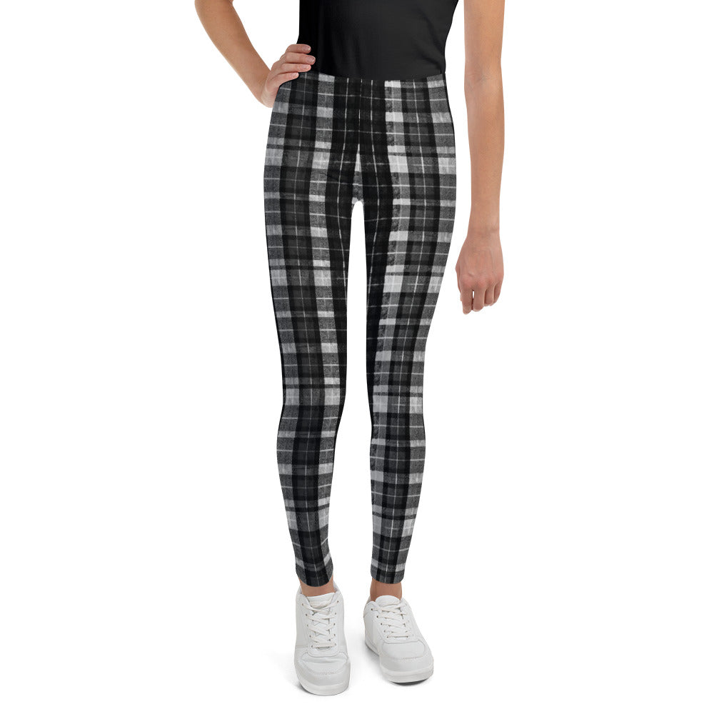 Black Plaid Girl's Leggings, Black Plaid Print Designer Girl Bottoms Winter Essentials Sports Gym Youth Leggings, Made in USA/EU (US Size: 8-20) Black Plaid Girl Bottoms Winter Essentials Sports Gym Youth Leggings, Made in USA-Youth's Leggings-8-Heidi Kimura Art LLC Black Plaid Girl's Leggings, Black Plaid Print Designer Girl Bottoms Winter Essentials Sports Gym Youth Leggings, Made in USA/EU (US Size: 8-20)
