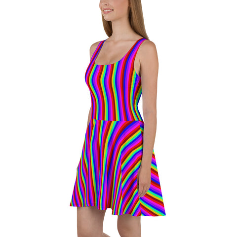 Rainbow Stripe Skater Dress, Gay Pride Parade Women's Dress-Made in EU-Heidi Kimura Art LLC-Heidi Kimura Art LLC Rainbow Stripe Skater Dress, Gay Pride Parade Colorful Best Women's A-line Skater Dress Sizes XS-3XL - Made in Europe (US Size: XS-3XL)