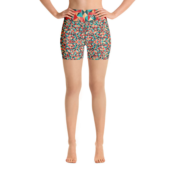 Red Geometric Women's Yoga Shorts, Colorful Ladies Workout Shorts-Heidikimurart Limited -Heidi Kimura Art LLC Red Geometric Women's Yoga Shorts, Colorful Ladies Workout Gym Tights, Premium Quality Women's High Waist Spandex Fitness Workout Yoga Shorts, Yoga Tights, Fashion Gym Quick Drying Short Pants With Pockets - Made in USA/EU/MX (US Size: XS-XL) Yoga Bottoms, Yoga Clothes, Activewewar, Best Women's Yoga Shorts, Women's Athletic Shorts, Running, Workout, Yoga Tights