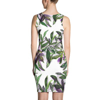 Green Floral Tropical Palm Leaf Print Sleeveless Women's Designer Dress - Made in USA - Heidi Kimura Art LLC