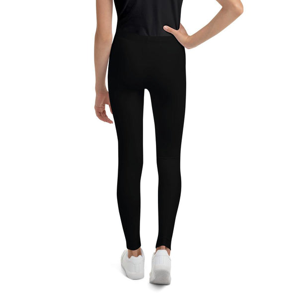 Solid Classic Black Color Premium Youth Leggings Pants Gym Tights - Made in USA/EU-Youth's Leggings-Heidi Kimura Art LLC