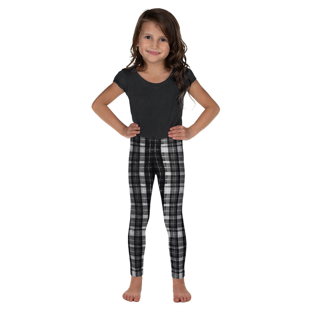 Black Plaid Print Designer Kid's Girl's Leggings Active Wear Pants (2T-7) Made in USA/EU-Kid's Leggings-2T-Heidi Kimura Art LLC