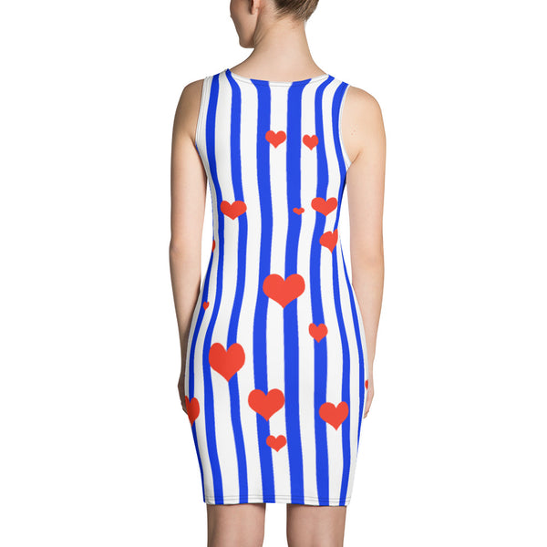 Blue Striped Women's Dress American Patriotic Flag Inspired Designer Dress - Made in USA-Women's Sleeveless Dress-Heidi Kimura Art LLC