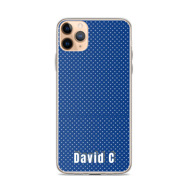 Blue Polka Dots Print Custom Names iPhone Case-Made in USA-Phone Case-iPhone 11 Pro Max-Heidi Kimura Art LLC