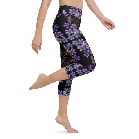 Blue Orchids Yoga Capri Leggings, Floral Print Best Women's Yoga Capri Leggings Pants High Performance Tights- Made in USA/EU (US Size: XS-XL) Purple Orchids Yoga Capri Leggings, Floral Print Best Women's Yoga Capri Leggings Pants High Performance Tights- Made in USA/EU (US Size: XS-XL)