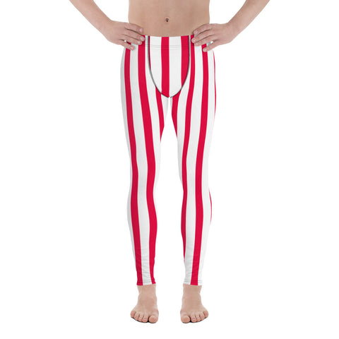Daisuke Red & White Stripes Men's Running Leggings & Run Tights Meggings Activewear- Made in USA/ Europe