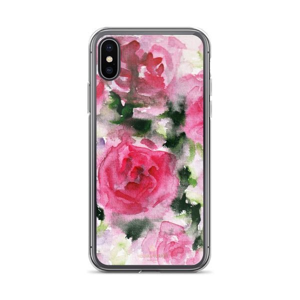 Pink Rose Floral Watercolor, iPhone X | XS | XR | XS Max | 8 | 8+ | 7| 7+ |6/6S | 6+/6S+ Case- Made in USA-Phone Case-iPhone X-Heidi Kimura Art LLC