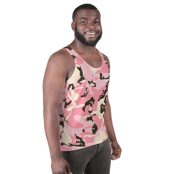 Pink Camo Unisex Tank Top, Camouflage Men's Sexy Tank-Made in USA/EU-Heidi Kimura Art LLC-Heidi Kimura Art LLC Pink Camo Unisex Tank Top, Camouflage Military Army Printed Best Premium Unisex Men's/ Women's Stylish Premium Quality Men's Unisex Tank Top - Made in USA/ Europe (US Size: XS-2XL)