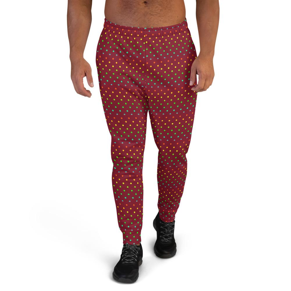 Dark Red Polka Dots Rainbow Print Men's Joggers-Made in EU (US Size: XS-3XL)-Men's Joggers-XS-Heidi Kimura Art LLC
