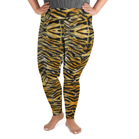 Orange Tiger Striped Plus Size Leggings, Animal Print Women's Yoga Pants-Made in USA/EU-Heidi Kimura Art LLC-Heidi Kimura Art LLC Orange Tiger Plus Size Leggings, Tiger Plus Size Leggings, Orange Brown & Black Tiger Stripe Animal Print Women's Long Yoga Pants High Waist Plus Size Leggings- Made in USA/EU (US Size: 2XL-6XL)