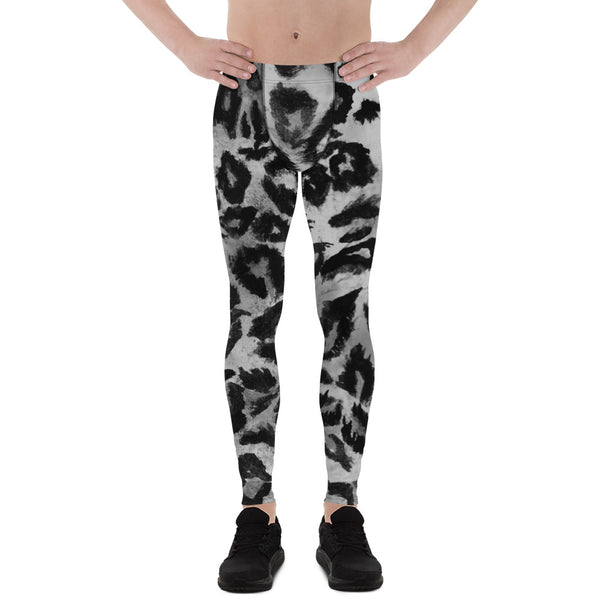 Gray Leopard Print Men's Leggings, Yoga Pants Running Leggings Fetish Tights- Made in USA-Men's Leggings-XS-Heidi Kimura Art LLC