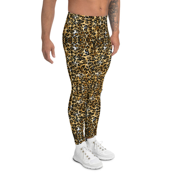 Brown Leopard Men's Leggings, Animal Print Meggings Compression Tights-Made in USA/EU-Heidi Kimura Art LLC-Heidi Kimura Art LLC Brown Leopard Men's Leggings, Animal Print Designer Men's Leggings Tights Pants - Made in USA/EU (US Size: XS-3XL)Sexy Meggings Men's Workout Gym Tights Leggings