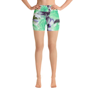 Kaemon Warrior Blue Rose Floral Print Yoga Shorts,Hot Yoga,Made in USA,Cute Shorts,Hippie Shorts,Floral Hot Bootie Pants Shorts,(Size:XS-XL) Kaemon Joyful Warrior Blue Rose Floral Print Yoga Shorts -Made in USA (US Size: XS-XL) Kaemon Joyful Warrior Blue Rose Floral Print Yoga Shorts, Made in USA