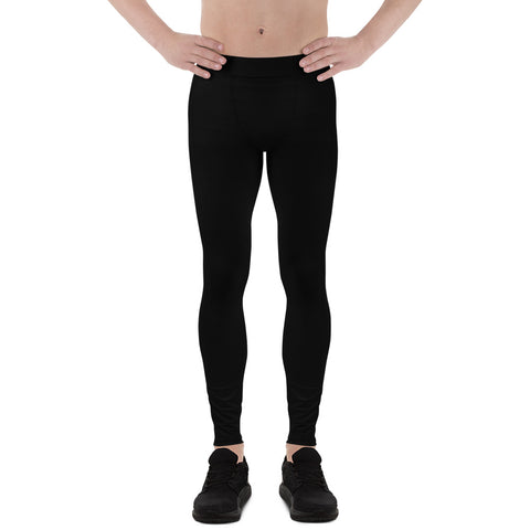 Solid Black Men's Leggings, Modern Minimalist Basic Essential Meggings-Made in USA/EU-Heidi Kimura Art LLC-Heidi Kimura Art LLC Solid Black Men's Leggings, Modern Minimalist Basic Sexy Meggings Men's Workout Gym Tights Leggings, Men's Compression Tights Pants - Made in USA/ EU (US Size: XS-3XL)