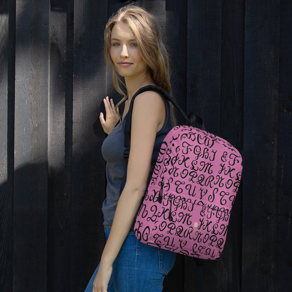 Pink Calligraphy Print Designer Water Resistant Designer Backpack- Made in USA/EU-Backpack-Heidi Kimura Art LLC