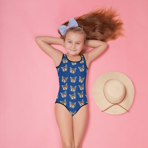 Navy Blue Cat Girl's Swimsuit, Cute Cat Print Kids Swimwear- Made in USA/EU (US Size: 2T-7)Girl's Cute Premium Kids Swimsuit Bathing Suit - Made in USA/ Europe (US Size: 2T-7) Cat Swimsuit, Cute Cat Girls Swimsuit