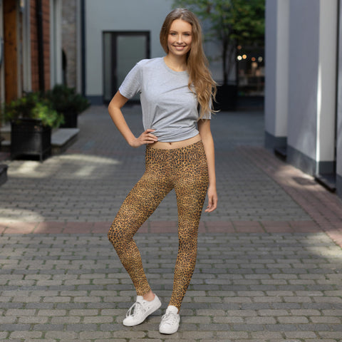 Brown Leopard Women's Leggings, Animal Print Fancy Dressy Tights-Made in USA/EU-Heidi Kimura Art LLC-Heidi Kimura Art LLC Brown Leopard Yoga Leggings, Animal Print Women's Long Dressy Fancy Premium Quality Casual Leggings/ Running Tights - Made in USA/EU (US Size: XS-XL)