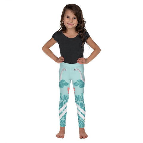 Light Blue Swan Bird Print Premium Cute Kid's Leggings Comfy Pants - Made in USA/EU-Kid's Leggings-2T-Heidi Kimura Art LLC