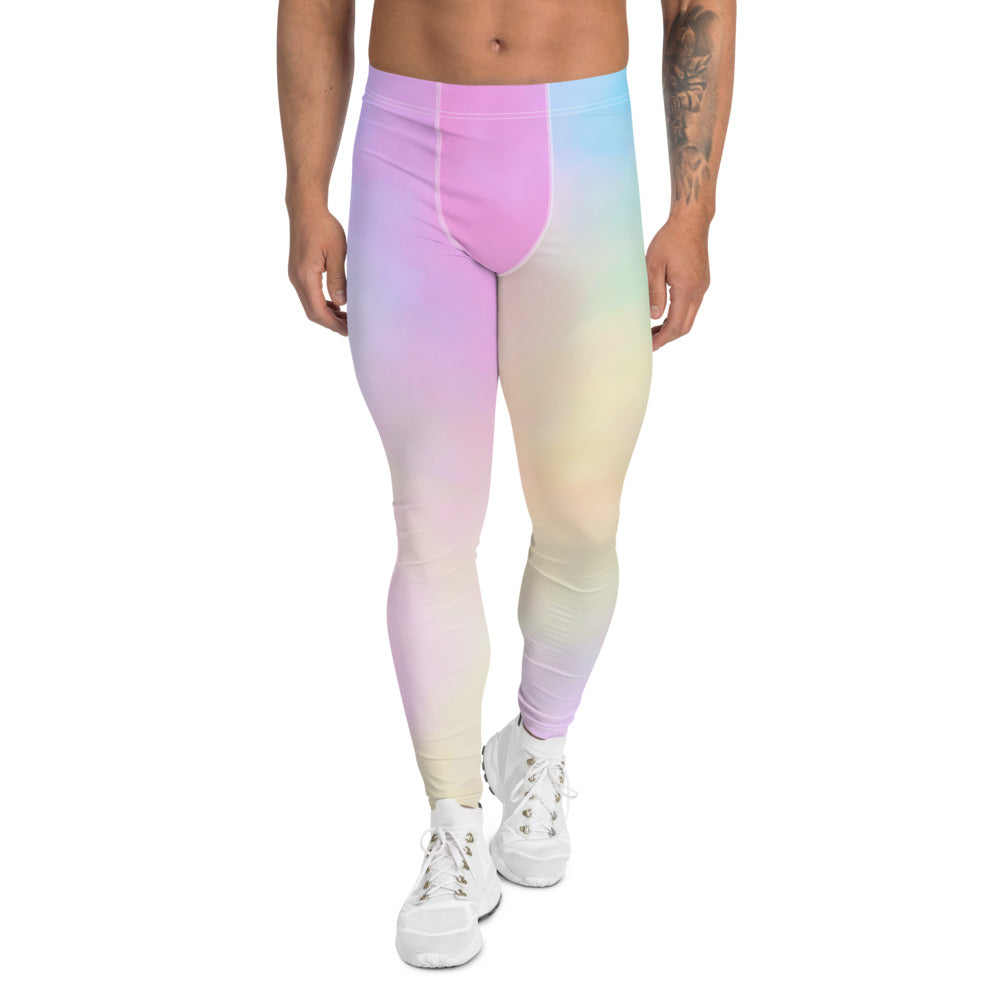 Colorful Pastel Men's Leggings, Light Pink Blue Meggings Best Men Tights Men's Leggings Tights Pants - Made in USA/EU (US Size: XS-3XL) Sexy Meggings Men's Workout Gym Tights Leggings