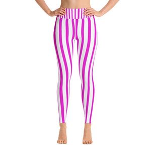 Women's Pink Stripe Active Wear Fitted Leggings Sports Long Yoga & Barre Pants-legging-XS-Heidi Kimura Art LLC