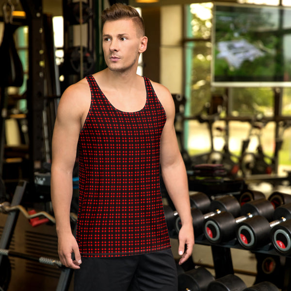 Red Black Buffalo Plaid Print Designer Unisex Men's or Women's Tank Top- Made in USA-Men's Tank Top-XS-Heidi Kimura Art LLC