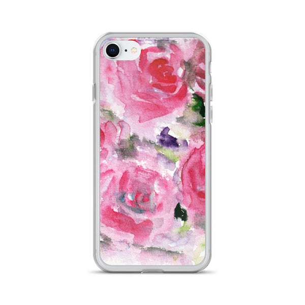 Hot Pink French Rose Floral Print iPhone X | XS | XR | XS Max | 8 | 8+ | 7| 7+ |6/6S | 6+/6S+ Case- Made in USA-Phone Cases-iPhone 7/8-Heidi Kimura Art LLC
