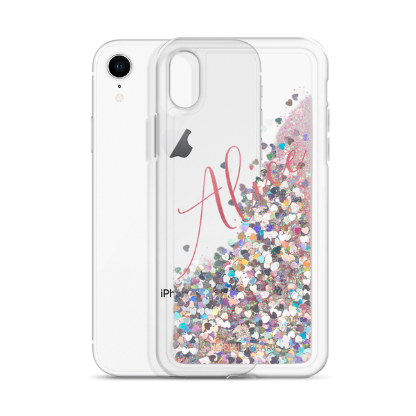 Pink Foil Custom Name Designer Shiny Liquid Glitter Phone Case-Made in USA-Phone Case-Pink-iPhone XR-Heidi Kimura Art LLC