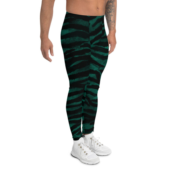Green Tiger Stripe Men's Leggings, Tiger Animal Print Meggings Tights-Heidi Kimura Art LLC-Heidi Kimura Art LLC