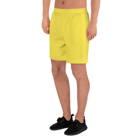 Bright Yellow Solid Color Premium Quality Men's Athletic Long Shorts- Made in Europe-Men's Long Shorts-Heidi Kimura Art LLC Bright Yellow Men's Shorts, Bright Yellow Solid Color Print Premium Quality Men's Athletic Long Fashion Shorts (US Size: XS-3XL) Made in Europe