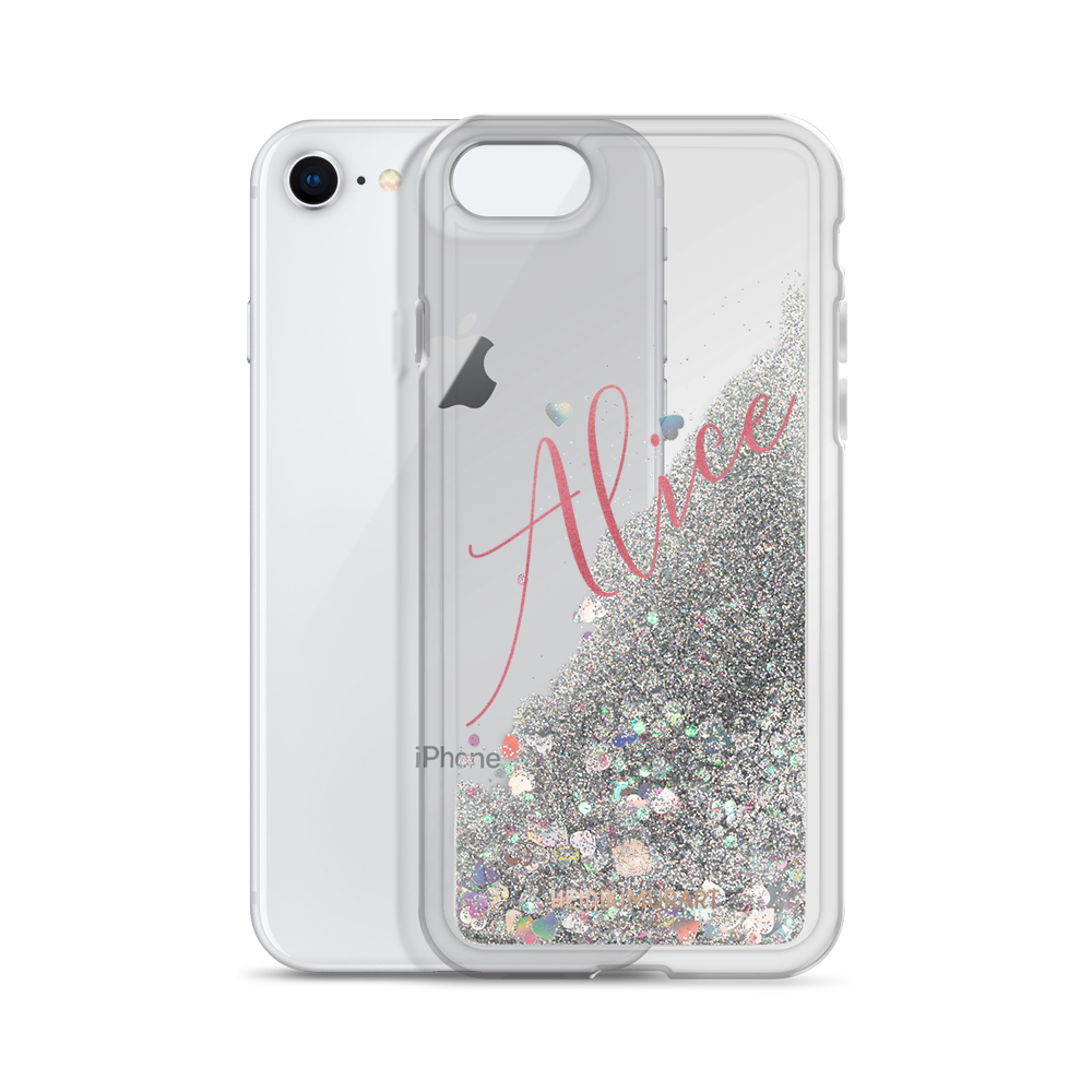 Pink Foil Custom Name Designer Shiny Liquid Glitter Phone Case-Made in USA-Phone Case-Silver-iPhone 7/8-Heidi Kimura Art LLC