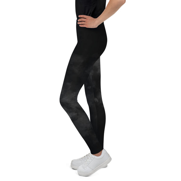 Black Abstract Youth's Leggings, Clouds Print Premium Youth Sports Tights-Made in USA-Youth's Leggings-Heidi Kimura Art LLC