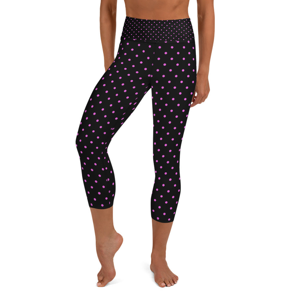 Pink Polka Dots Capri Leggings, Dots Print Black Women's Yoga Capris -Made in USA/EU-Capri Yoga Pants-XS-Heidi Kimura Art LLC