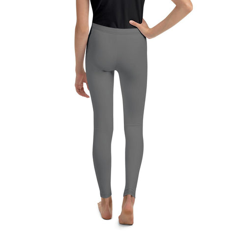 Charcoal Gray Solid Color Premium Youth Leggings Gym Sports Tights - Made in USA/EU-Youth's Leggings-Heidi Kimura Art LLC