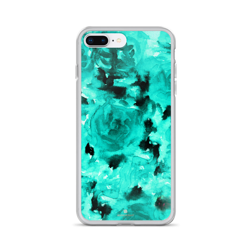 Teal Blue Rose Floral, iPhone X | XS | XR | XS Max | 8 | 8+ | 7| 7+ |6/6S | 6+/6S+ Case- Made in USA-Phone Case-iPhone 7 Plus/8 Plus-Heidi Kimura Art LLC