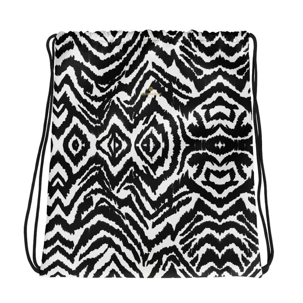 "Modern Zebra Animal Print White Black Travel 15""x17"" Drawstring Bag- Made in USA/EU-Drawstring Bag-Heidi Kimura Art LLC"