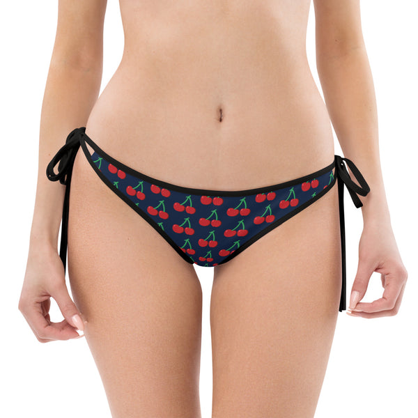Red Cherries Bikini Bottom, Navy Blue 1-pc Premium Women's Swimwear-Made in USA/EU-Bikini Bottom-Printful-Black-XS-Heidi Kimura Art LLC