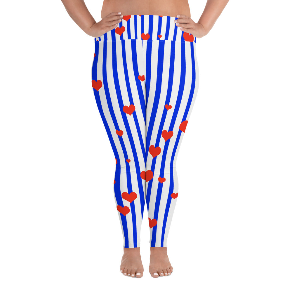 Patriotic Blue Stripe Print Women's High Waist Elastic Long Yoga Pants-Women's Plus Size Leggings-2XL-Heidi Kimura Art LLC